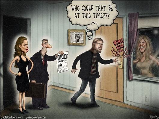 چه کسی زنگ خانه آنجلینا جولی را زد؟/کاریکاتور